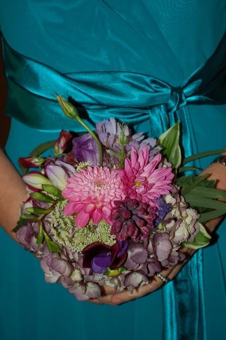 pink & purple hydrangea, dahlia, zinnia, lisianthus, hyacinth bridesmaid bouquet