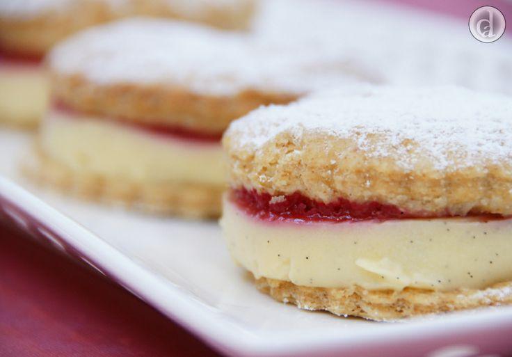 Delicious gluten free flaky pastry, silky vanilla bean custard & tart raspberry puree - what's not to love.