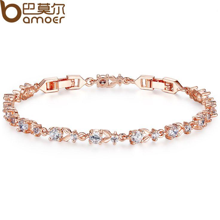 BAMOER 6 Colors Luxury  Rose Gold Plated Chain Bracelet for Women Ladies Shining AAA Cubic Zircon Crystal Jewelry JIB013 ** Klik gambar untuk deskripsi rinci