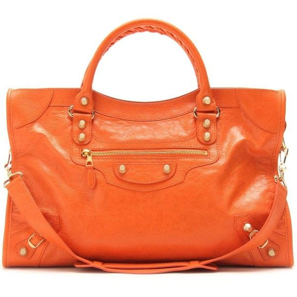Balenciaga Giant 12 City Leather Tote (111,020 INR) ❤ liked on Polyvore featuring bags, handbags, tote bags, purses, balenciaga, accessories, leather handbags, leather hand bags, man bag and orange leather tote