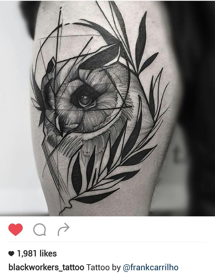 Black and gray owl tattoo by @frankcarrilho                                                                                                                                                      More