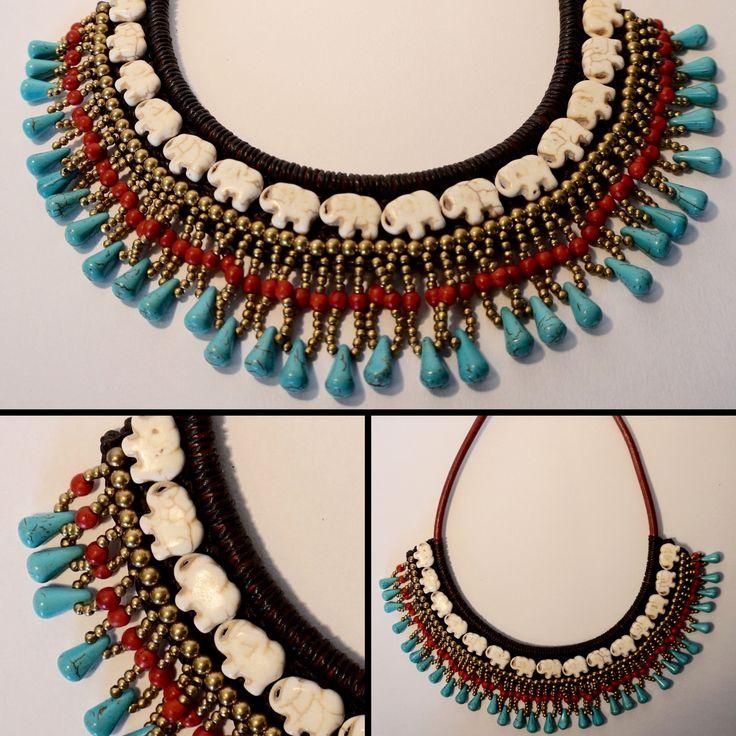 Collier plastron ethnique en coton ciré, perles dorées, pierres bleues et rouges et pierres sculptées en forme d'éléphant <3 http://surlenuagedemeije.com/