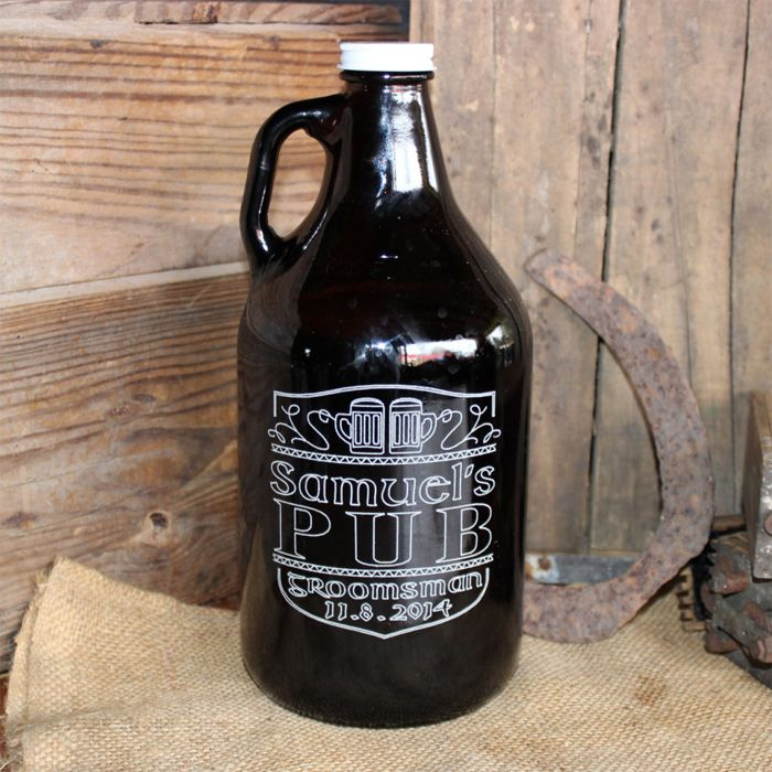 "Personalized ""Local Pub"" 64 oz Amber Glass Beer Growler perfect gift for any groomsman,  #Groomsmen #Wedding #Barware"