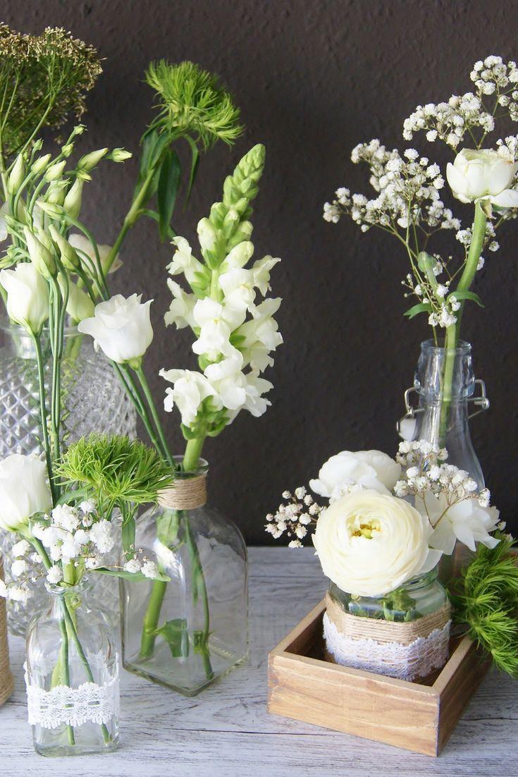 Blumen Deko im Vintage – Stil selber machen für Hochzeit als Tischdekoration – MissBetty-diy | DIY BLOG & ONLINE SHOP