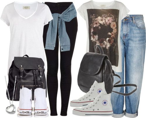 School outfits with white high tops by nikka-phillips featuring canvas sneakersAllSaints low v neck t shirt / AllSaints print t shirt / Topshop jeans / Topshop jeans / River Island blue skirt, $41 / Converse canvas sneaker / Converse lace up shoes / H M black bag, $41 / Elsa Peretti open heart jewelry