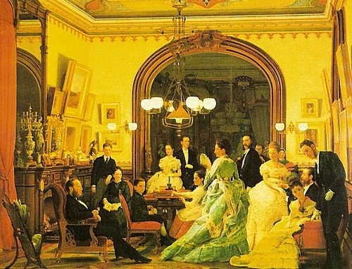 The Vanderbilt family. c.1874. Going to the Opera, by Seymour Guy. Painted prior to William Henry Vanderbit erecting his triple mansion at 640 Fifth Avenue. Florence Vanderbilt and later Twombly (as she married financier Hamilton Twombly) with Willie K. at her side.  Margret, in green, unfurls a fan in the foreground. Behind her to the right, her husband Elliot F. Shepard is being help into his overcoat by the butler. At right stands Cornelius Vanderbilt 11, beside his seated wife Alice.