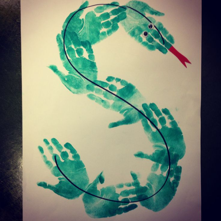 S is for Snake craft! Draw the hands the class before.