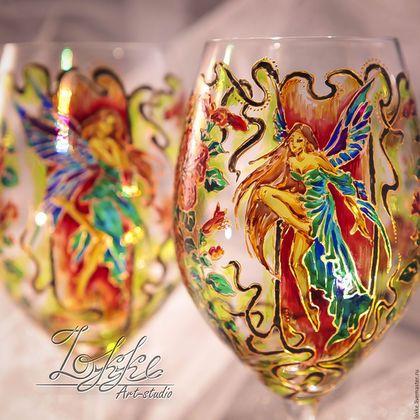 Бокалы, стаканы ручной работы. Ярмарка Мастеров - ручная работа. Купить Винные бокалы - феи арт нуво. Handmade.