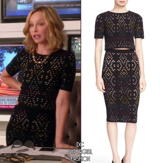 Who: Calista Flockhart as Cat Grant What: Alice + Olivia 'Ines' Multicolor Pointelle Knit Crop Top - $115.20 Alice + Olivia 'Ani' Multicolor Pointelle Knit Pencil Skirt - $119.98 Where: Supergirl | 2x01 The Adventures of Supergirl