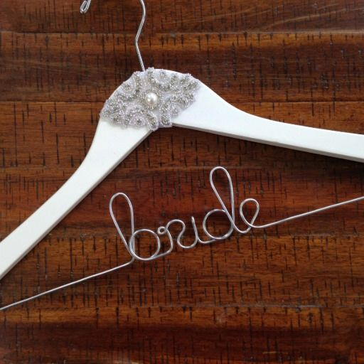 "Personalized ""BRIDE"" White Pearl Wedding Dress Hanger << Perfect for Wedding Day Pictures!   #wedding #bride"