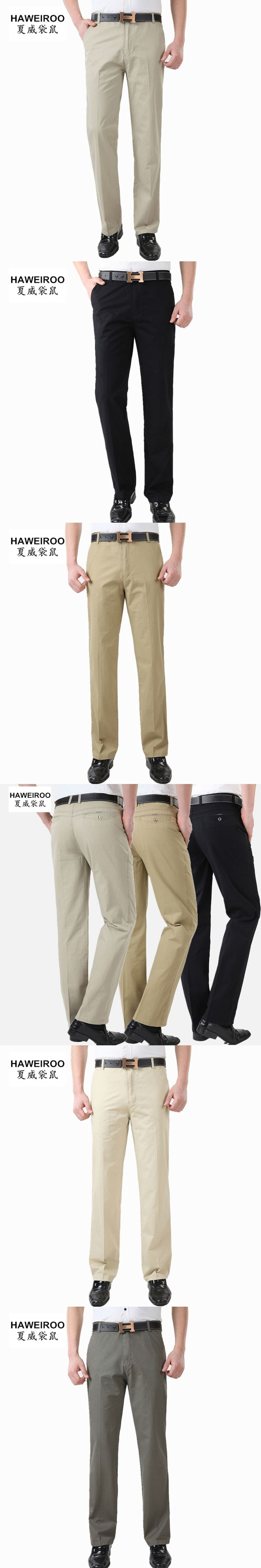 2017 middle-aged men trousers man casual pants straight loose cotton male trousers high waist pants Summer Trousers