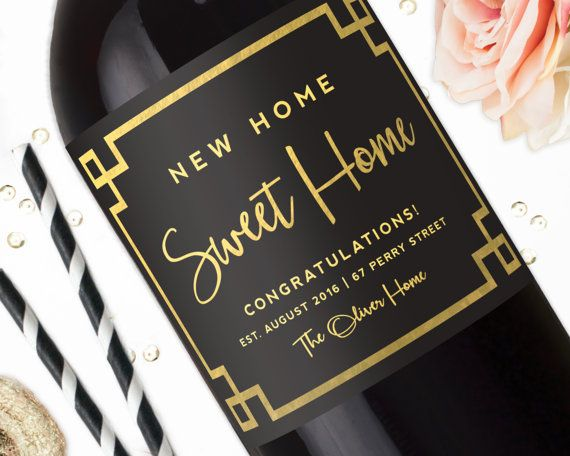 New Home Sweet Home Gold Housewarming Gift Wine by StudioBLabels