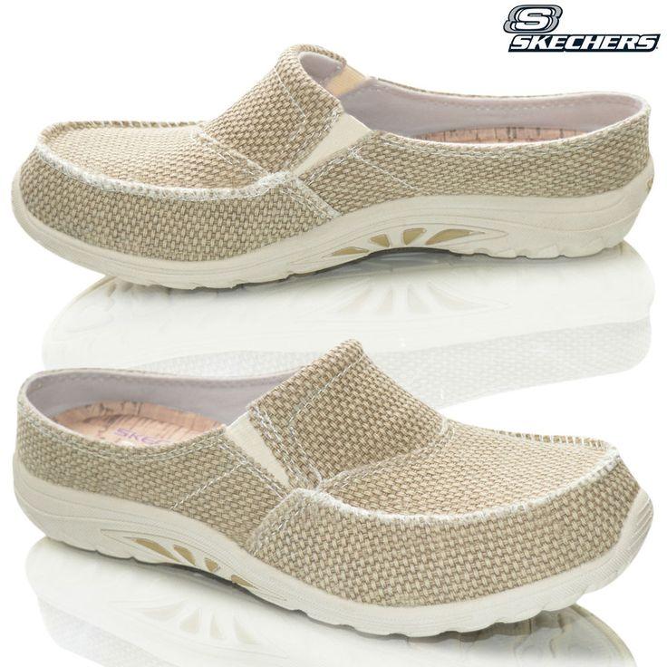 Womens Skechers Reggae Memory Foam Slip On Casual Slippers Summer Shoes Mules