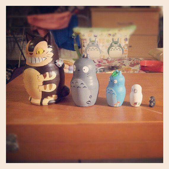 #Totoro Nesting dolls by IchigoNway on Etsy, £30.00 #handmade in London, #England!