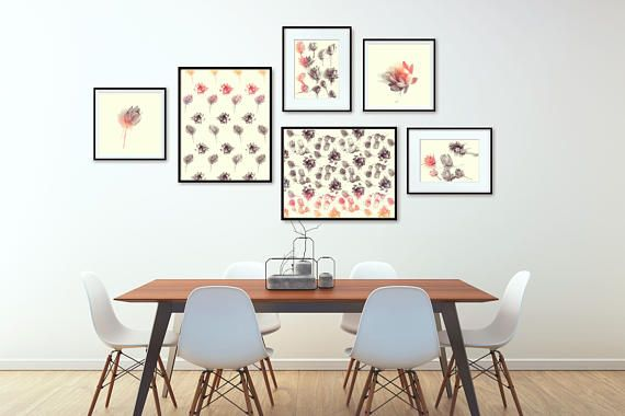Gallery Wall Printables Bundle. Create wall gallery in botanical style! Beauty of succulent plants of various shapes in simple and uniform color palette. Colors: sepia hues, red accent, ivory background. Set of 6 Printables, Botanical Posters Set, Posters With Succulents, Photo Decor Set