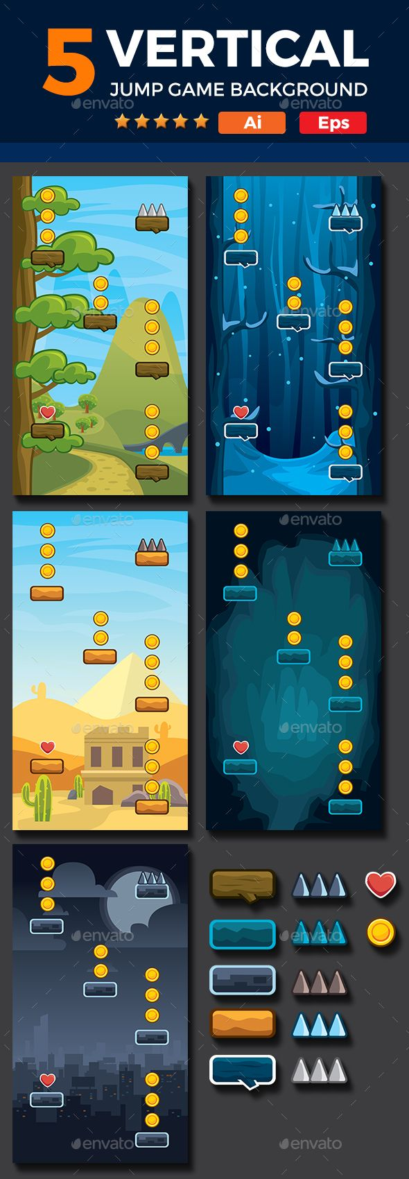 Set of 5 Vertical Game Backgrounds