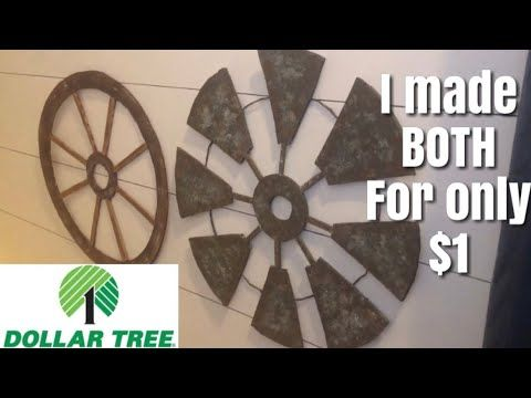 DOLLAR TREE FARMHOUSE DIY || WINDMILL AND WAGON WH…