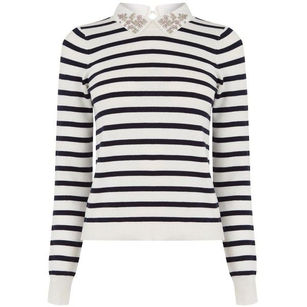 Oasis Striped Embellished Collar Jumper, Multi found on Polyvore featuring tops, sweaters, collared sweater, long sleeve tops, white top, long sleeve cotton tops and white long sleeve sweater