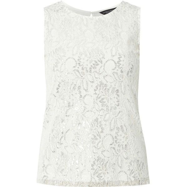 Dorothy Perkins Silver Lace Front Shell Top ($25) ❤ liked on Polyvore