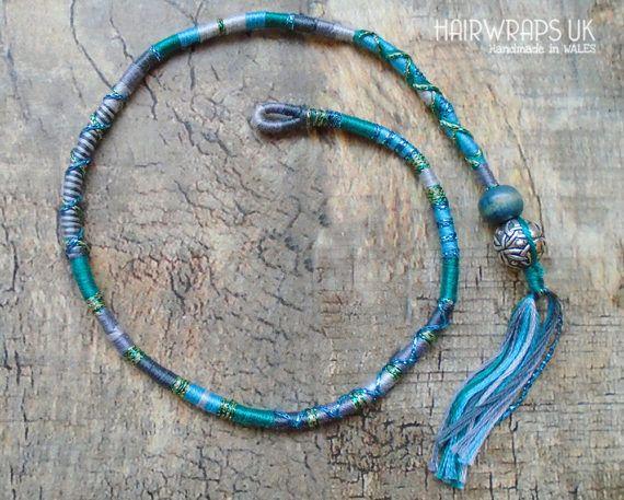 Wrap de cheveux de sirène, sirène Hairwrap, tresse de cheveux, bleu, gris, vert, cheveux tresse, Festival Hairwrap, noeud celtique, perle en bois, CELTIC sirène