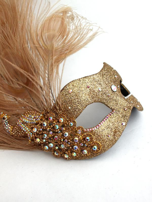 gold masquerade mask with peacock feathers | ... Feature Colour / Gold & Yellow Masquerade Masks / Monsoon Peacock Gold