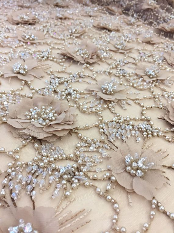 Luxury 3D brown flower lace fabric pearl by ImperialLingerie