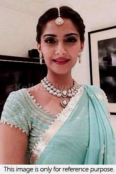 Bollywood Actress Sonam Kapoor Georgette Saree in Sky Blue color
