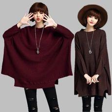 Осень и зима приток товар большой размер женщин пуловер Девушки Длинные ультра-свободные трикотажные свитера летучей мыши рубашки корейской версии Queen