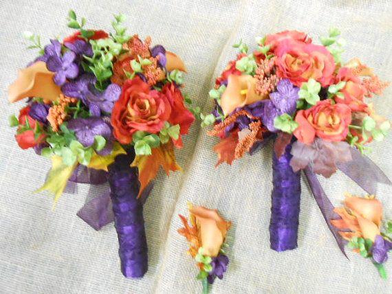 Wedding flower set: Purple Plum Burnt Orange Bridal Bouquet with Bridesmaid, corsages, boutonnieres Coral Reef Sage Green Calla Lily Rose