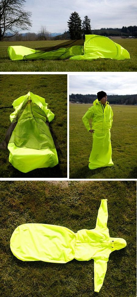 Cool, Unusual tent Jacket + Tent + Sleeping Bag = JakPak weighs 3 lbs, constructed of urethane http://jakpak.com/home.aspx
