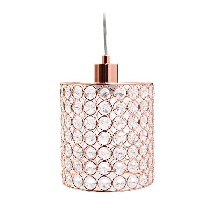 Elegant Designs 1 Light Elipse Crystal Cylinder Pendant, Rose Gold