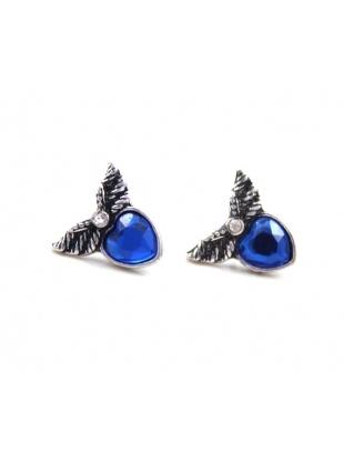 blue rhineston embellished retro earrings