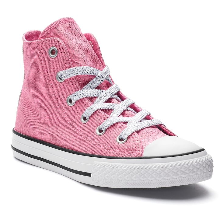 Girls' Converse Chuck Taylor All Star Glitter High Top Sneakers, Size: 12, Pink
