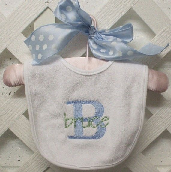 Monogrammed Baby Bib boy or girl by PoshDesignsbyMarilyn on Etsy, $10.00