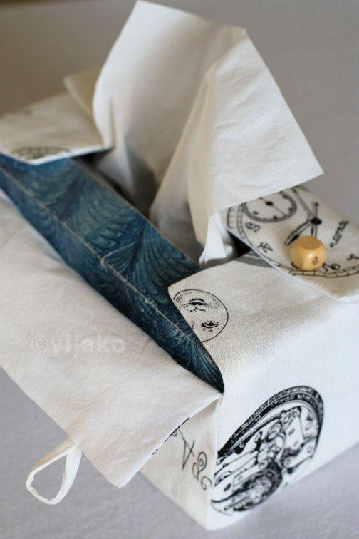 Vintage clocks pattern linen tissue box cover by vijako on Etsy