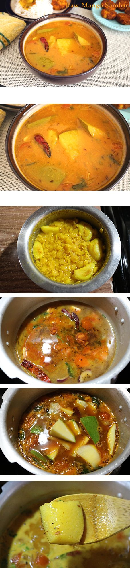 "Sambar is a healthy and delicious South Indian gravy made using toor dal, veggies and other aromatic Indian spiced. This ""Raw Mango Sambar"" is a lip smacking tangy version of a sambar using raw mangoes which are very tender and tasty after cooking. Perfect with white rice and a spicy veggie on the side."
