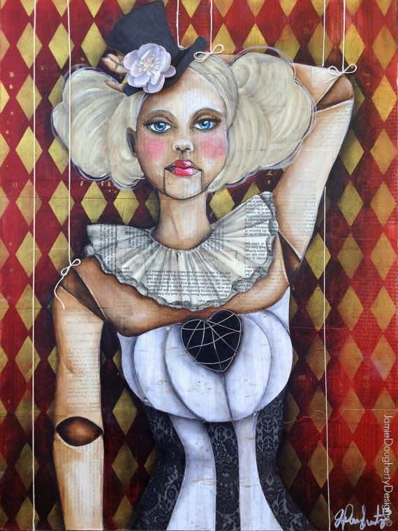 Sever The Strings Mixed media 18x24 by Jamie by jaylynnscraps, $275.00 Jamie Dougherty Designs Marionette