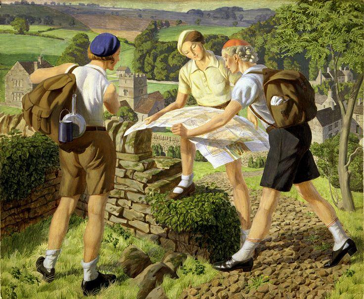 """""""Hiking"""" (1936) by James Walker Tucker."""