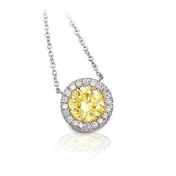 Beautiful yellow diamond necklace
