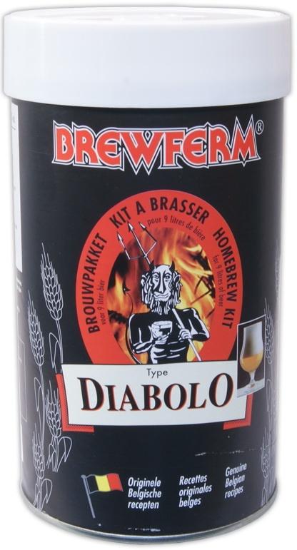 """Brewferm Diablo 9l    Bere speciala belgiana: auriu, cu spuma groasa si de durata.  Aroma caracteristica de """"diavol"""" al berii - placuta la gust, cu un usor gust dulce pe final.    Ingrediente:  Extras de malt cu hamei  Drojdie speciala Brewferm    Greutate kit - 1.5 kg  Pentru 9 litri de bere  ABV - aprox. 8%"""