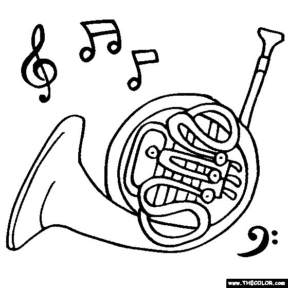 french horn coloring pages - photo#10