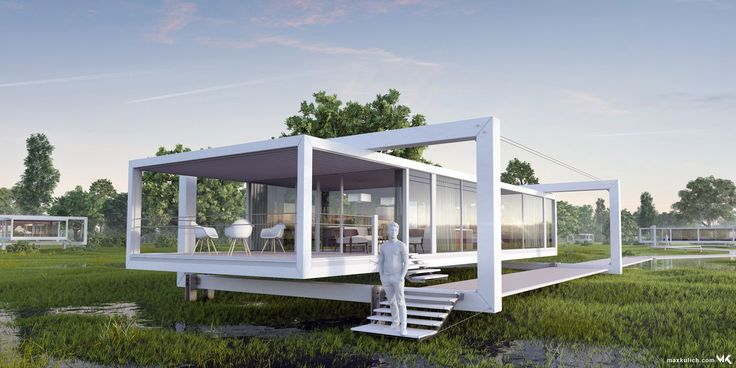 3D Architectural Visualization of a futuristic floating House