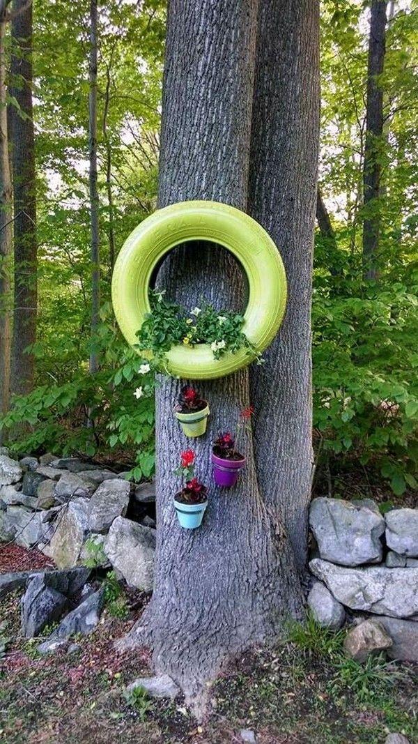 hermosas ideas para decorar macetas de neumticos viejos