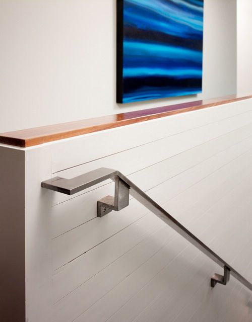 wood stairwell wall love. Stainless handrail love