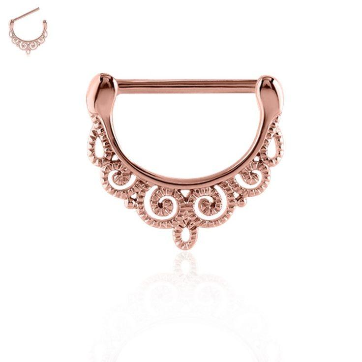 Bijou dentelle plaqué or rose pour le piercing de téton. Facile à poser.