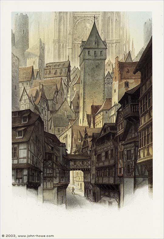 """Middle-earth:  """"Streets of #Minas #Tirith,"""" by John Howe."""