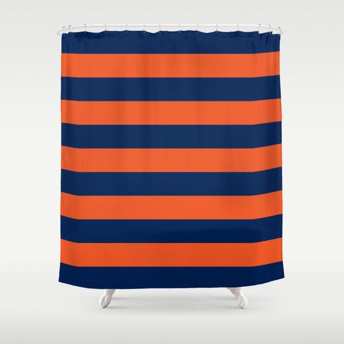 Buy Horizontal Stripes Pattern Orange Blue Shower Curtain By
