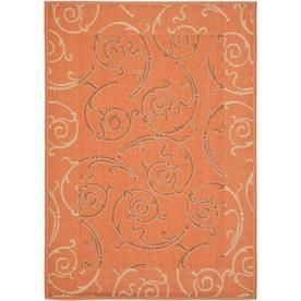 Safavieh�Courtyard 4-ft x 5-ft 7-in Rectangular Orange Transitional Indoor/Outdoor Area Rug