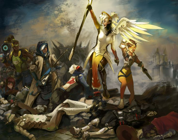 Overwatch fanart with Mercy, Ana, Genji, Zenyatta, Tracer, McCree, Lúcio, Soldier: 76, Reaper, D.Va