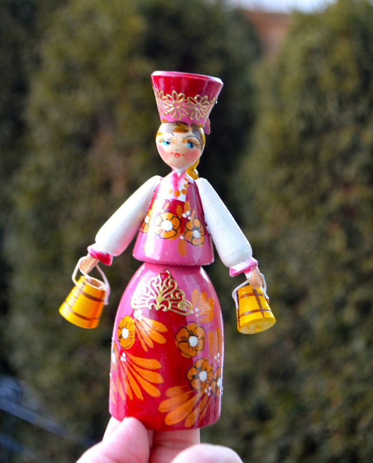 RUSSIAN DOLL PINK Lovely Russian Traditional Doll Hand Painted Wooden Milkmaid Figurine with Long Yellow Braid and Yellow Milk Cans by StudioVintage on Etsy